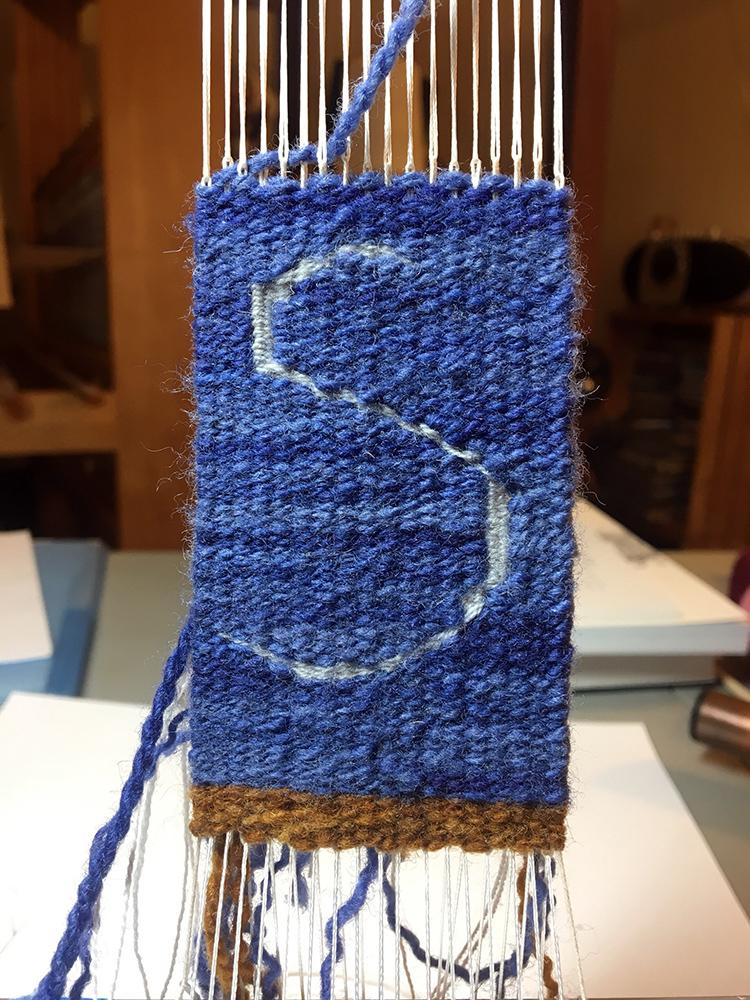 """Rebecca Mezoff, tapestry diary piece in progress, """"Sky"""", www.tapestryweaving.com"""