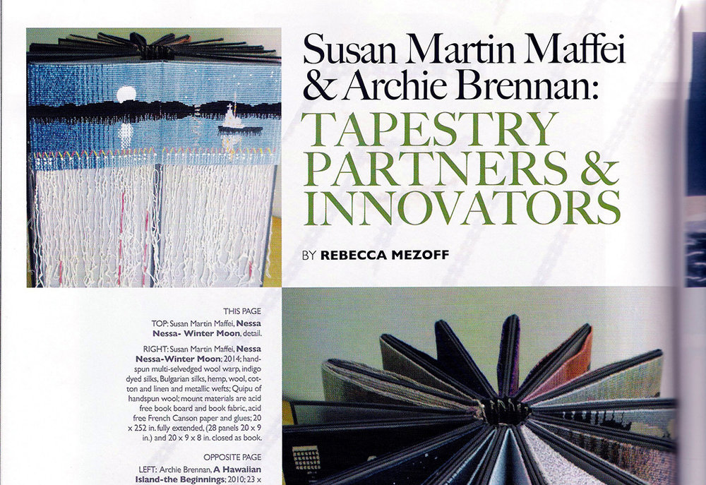 Fiber Art Now article about Archie Brennan and Susan Martin Maffei, Fiber Art Now, Spring 2015