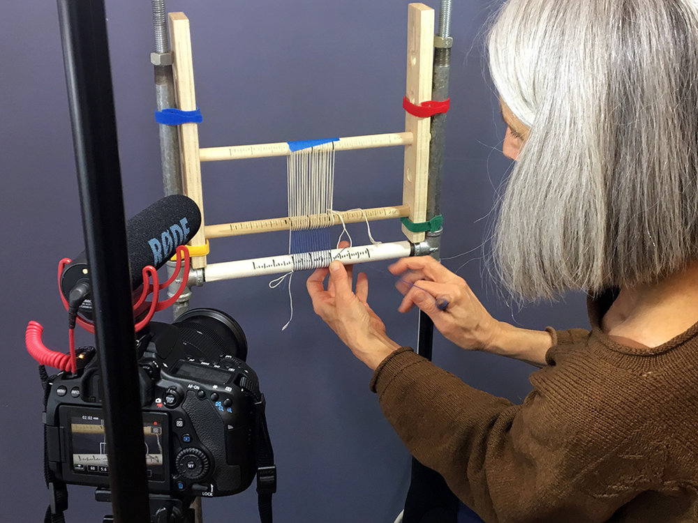 Sarah Swett demonstrating four selvedge warping