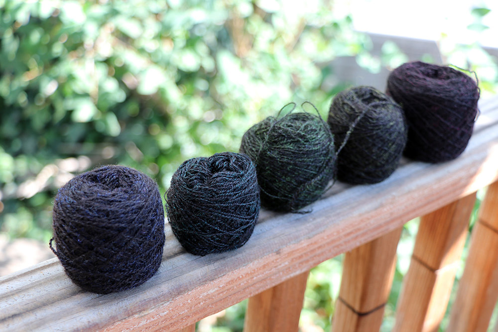 Rebecca Mezoff, handspun, hand-dyed tapestry yarn. With thanks to Nick Colony, designer of  Nightshades , for the idea.