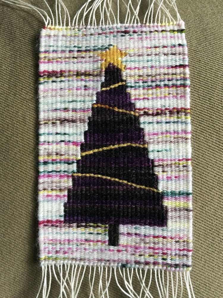 Rebecca Mezoff, 2017 holiday tree with (gasp) sock yarn