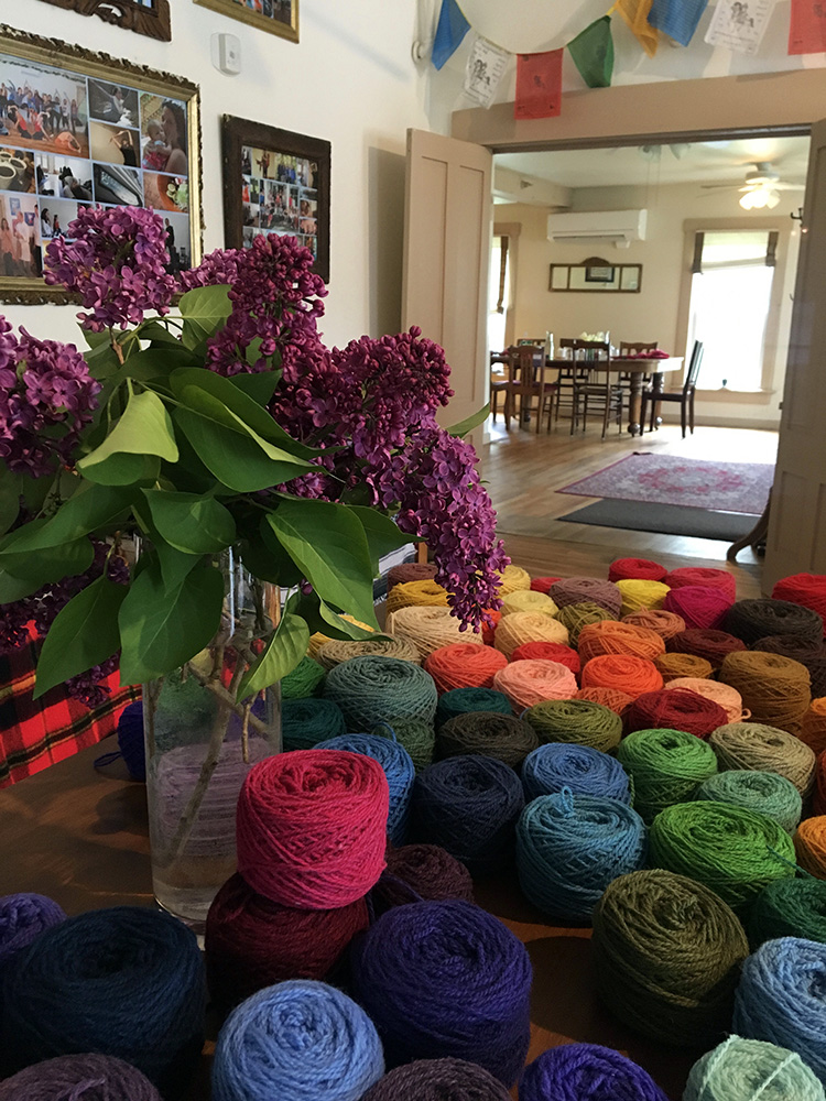 Yarn table with lilacs in May