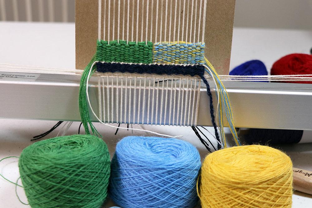 Rebecca Mezoff, basic color experiments for color retreats 2019 underway