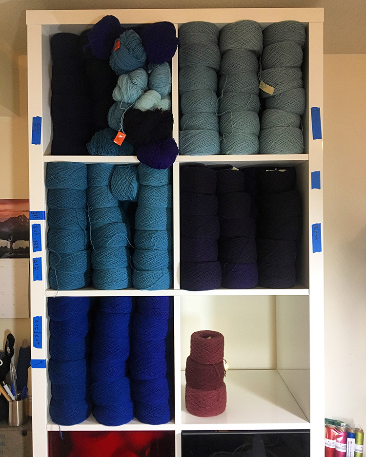 Rebecca Mezoff studio, yarn shelves stuffed and waiting for a new tapestry to begin