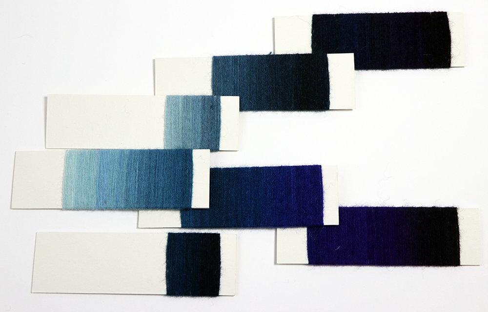 Rebecca Mezoff, yarn wrap comparisons for tapestry design