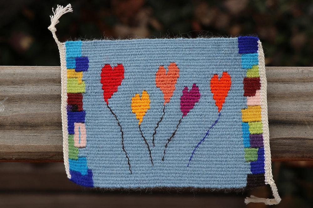 Rebecca Mezoff,  Balloon Hearts,  tapestry, 12 epi, Weavers Bazaar wool weft, cotton warp