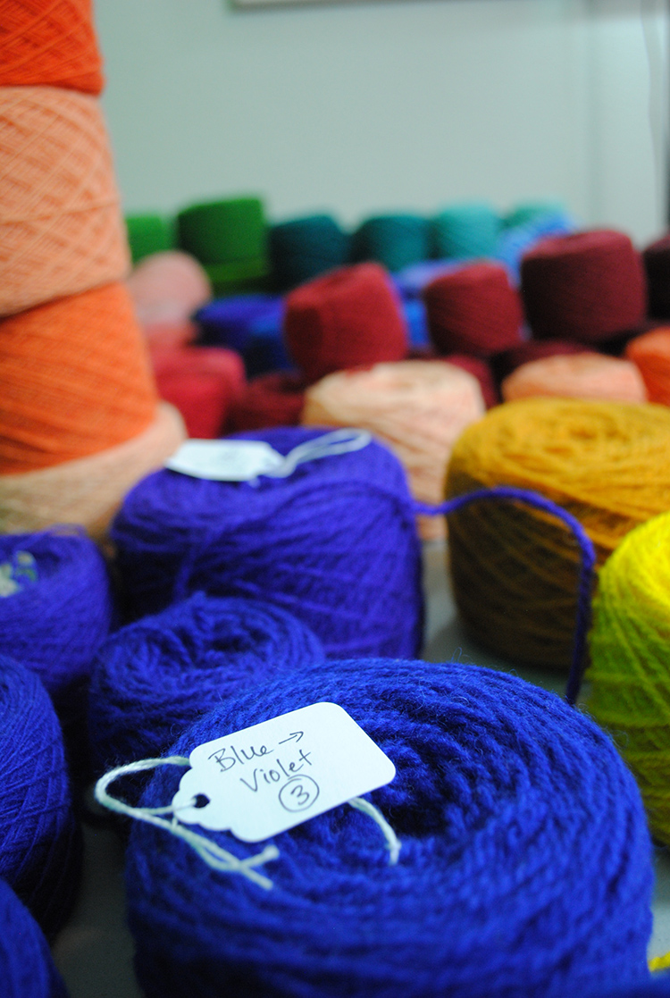 Balls of hand-dyed Harrisville Highland for tapestry weaving