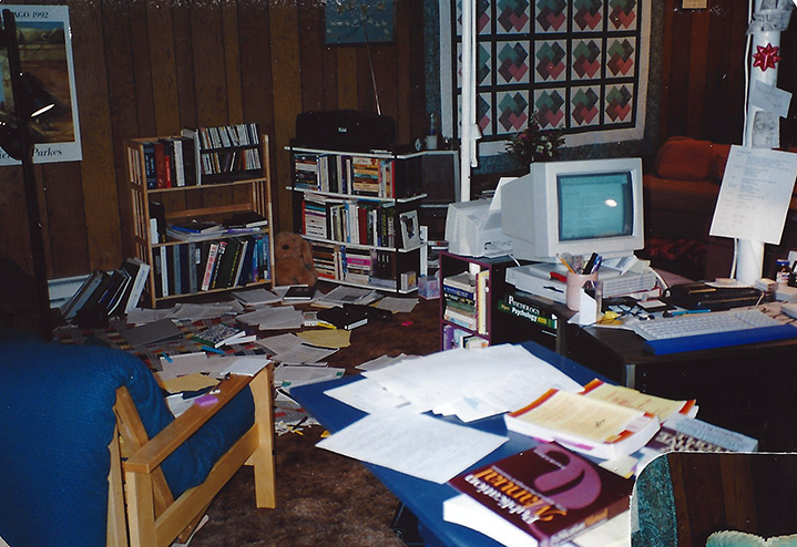 The third basement in three years. Masters thesis in progress. This photo proves that I did NOT have one of those colored bubble Macs at this point. It must have come later. The sticky notes are real though. Circa 1997.
