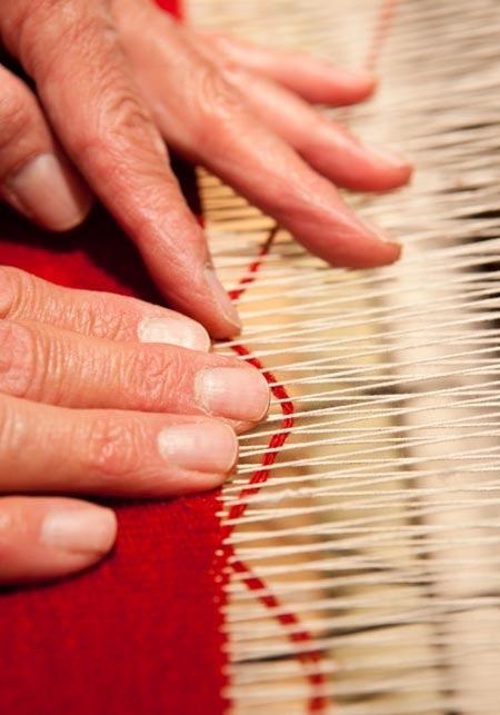 James Koehler, weaving tapestry