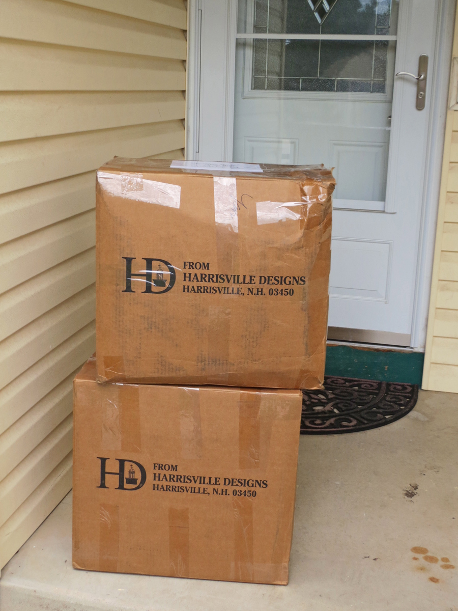 Yarn arrival: Those boxes are full of white tapestry yarn.