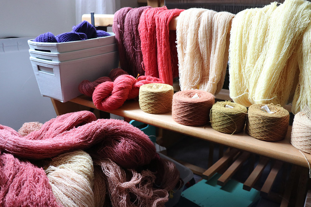 Some of the yarn I've dyed for this project.