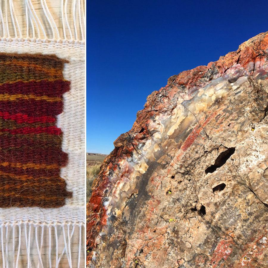 Rebecca Mezoff, Petrified Forest artist residency weaving, Day #3