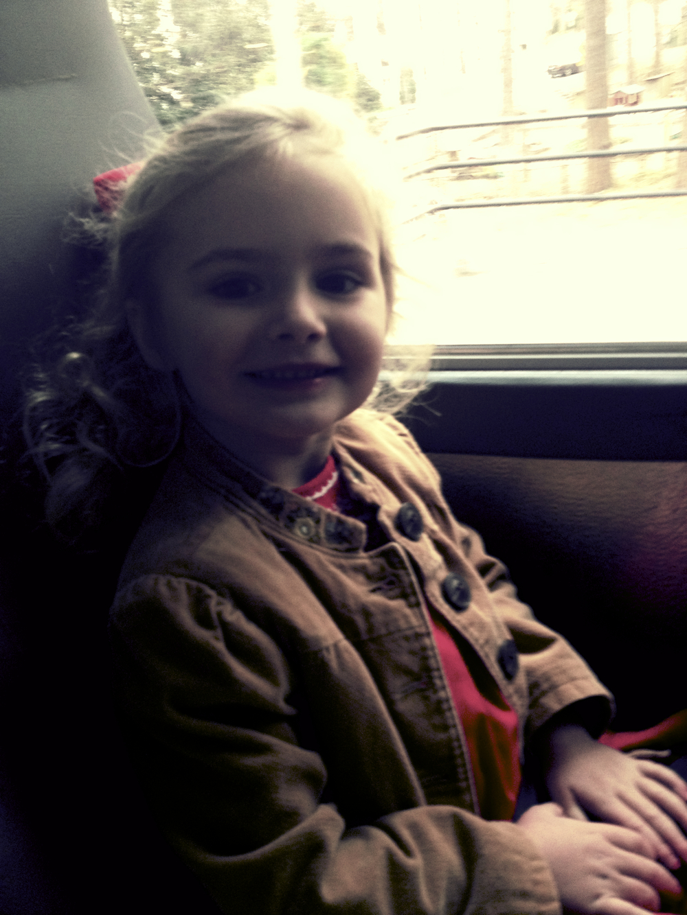 Libby and her school on the bus heading over to Wesley Woods.