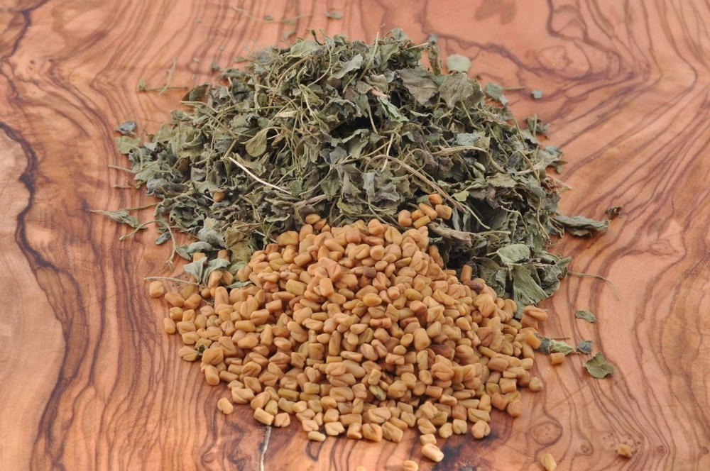 Fenugreek Seeds and Dried Leaves