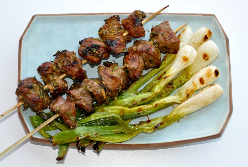 Hakka Grilled Lamb With Grilled Scallions