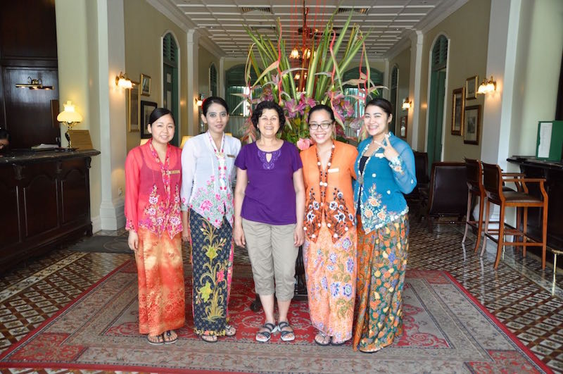 A group of lovely young women dressed in traditional Nyonya costume, posing with me!