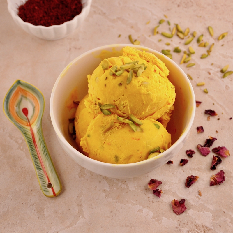 Saffron Rosewater Ice Cream With Pistachios