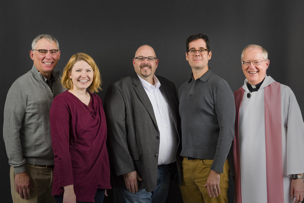 Left to Right: Toby Berberich, Mary Shell, Tom Pettit, Chad Owen, Fr. Larry Hoffmann Not Pictured: Jim Roths, Alison Meier, Tonya Eaton