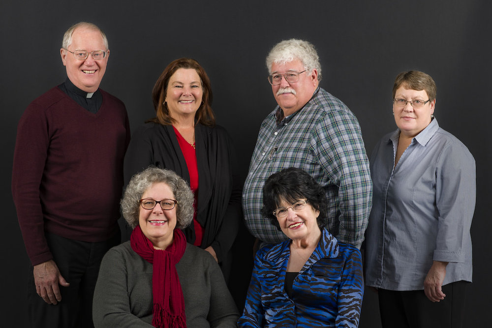 Left to Right, Front Row: Kathy Lickteig, Reta Althaus Back Row: Fr. Larry Hoffmann, Jean McPherson, Bruce Mehlhop, Susan Ellsworth