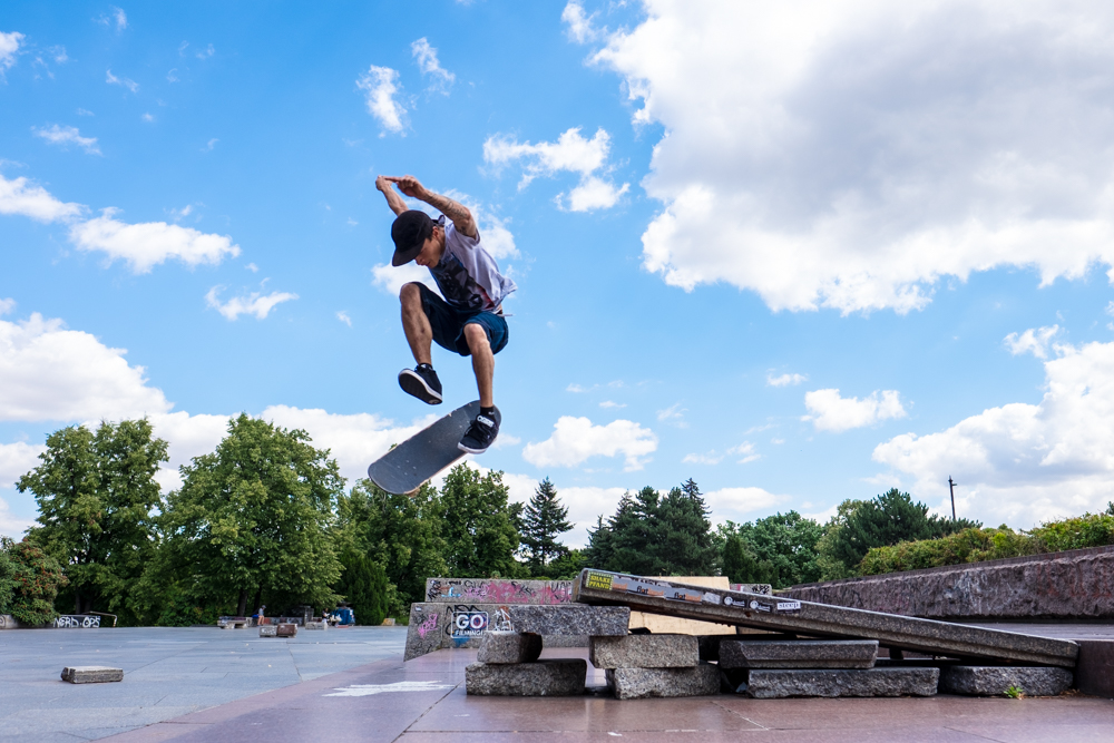 Skateboarder Hudson da Paz in Prague, Czech Republic.