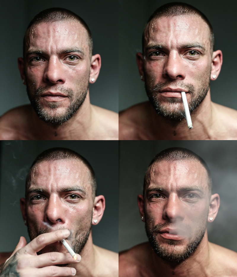 Glory star Joe Schilling enjoys a smoke post fight backstage in Hampton, Virginia.