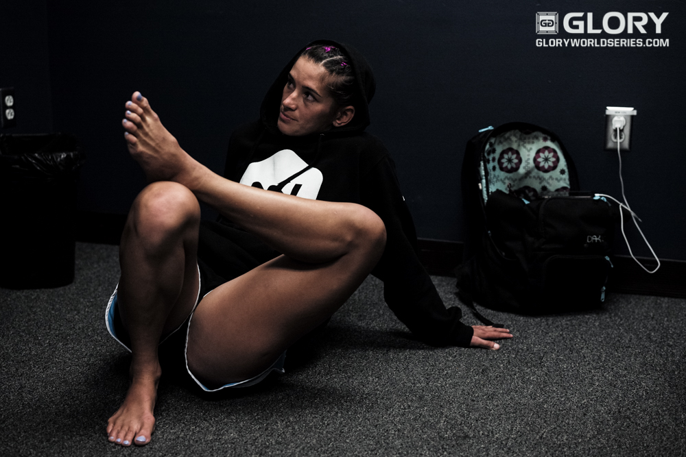 Tiffany Van Soest relaxes backstage before her fight with Esma Hasshass.