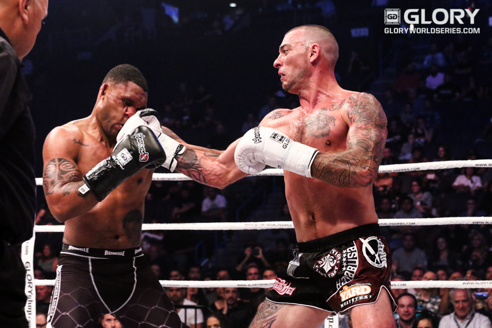 Joe Schilling lands a right hand against Jason Wilnis. Wilnis would go on to win the decision.