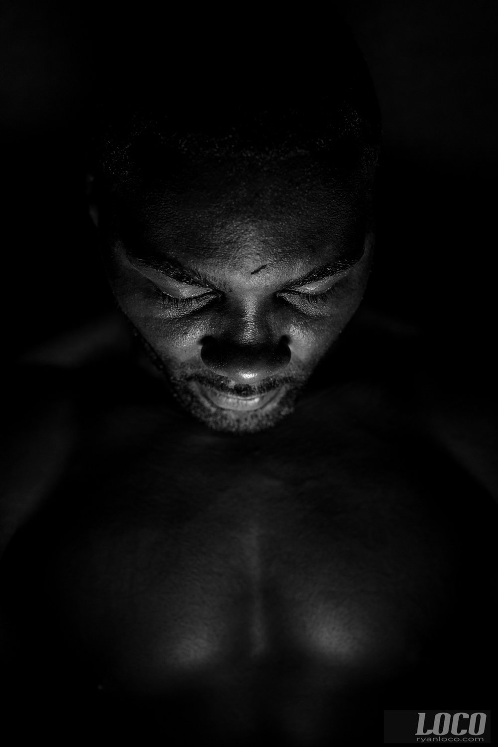Anthony Johnson in the training room, the week before his fight with Glover Teixeira. I had Anthony hold a light in his hands to take this portrait.