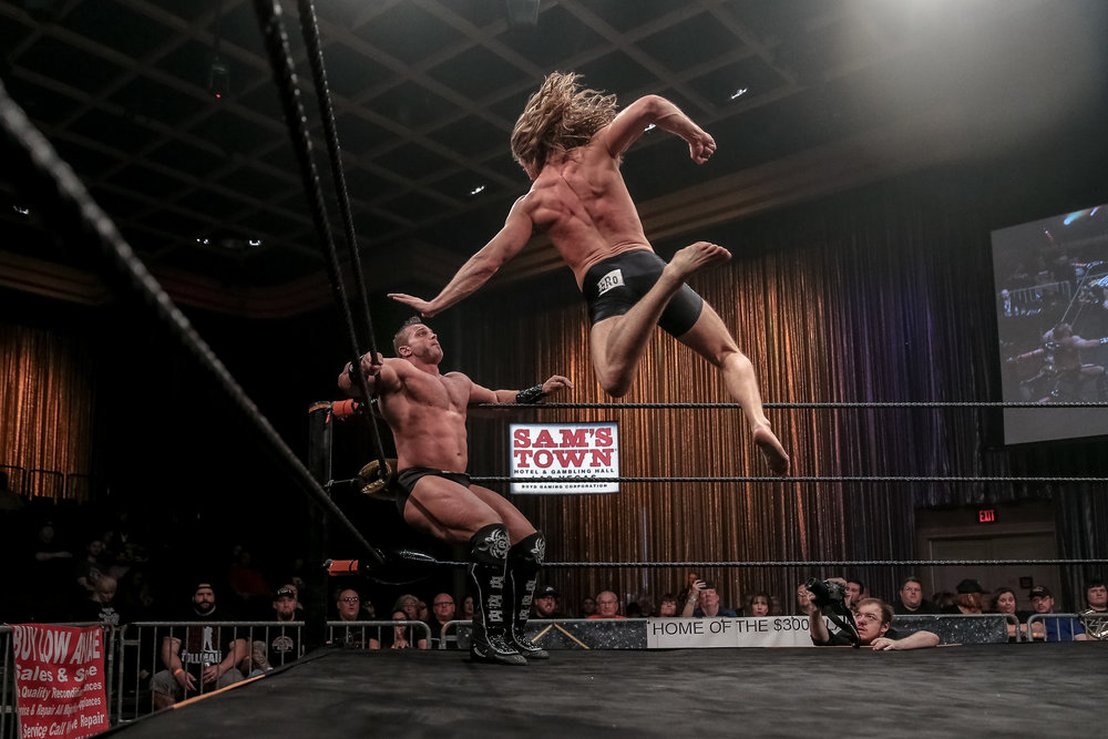 Matt Riddle flies high in his match against Brian Cage in FSW Las Vegas.