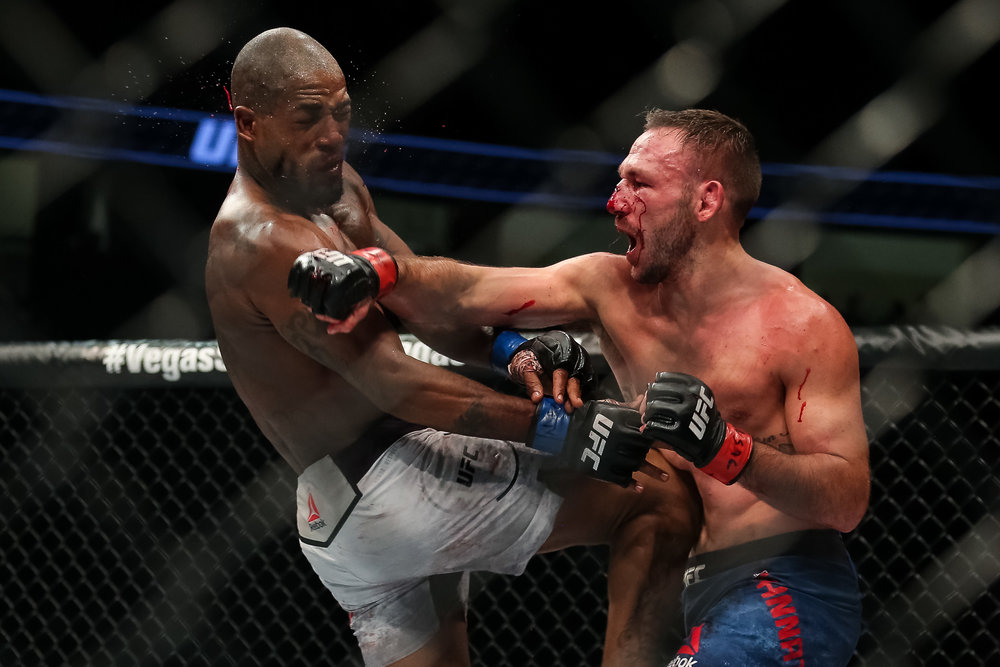Lando Vannata lands against Bobby Green at UFC 216.