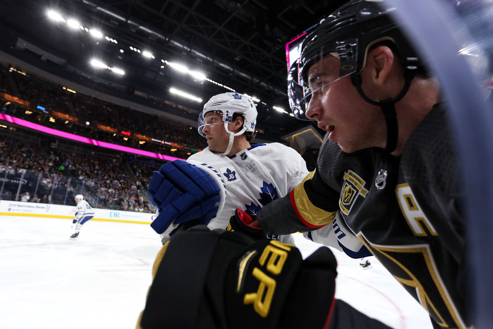 Up close action on the glass from the Golden Knights v Maple Leafs game. The Golden Knights have been the surprise team of the NHL season.