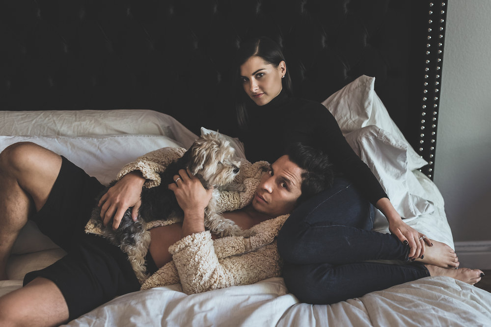 So continuing with Joe Benavidez always being down to create, here he is with his wife, Megan Olivi, and their dog Benny. We wanted to do an homage to the Kanye & Kim images we saw in Harpers Bazaar.