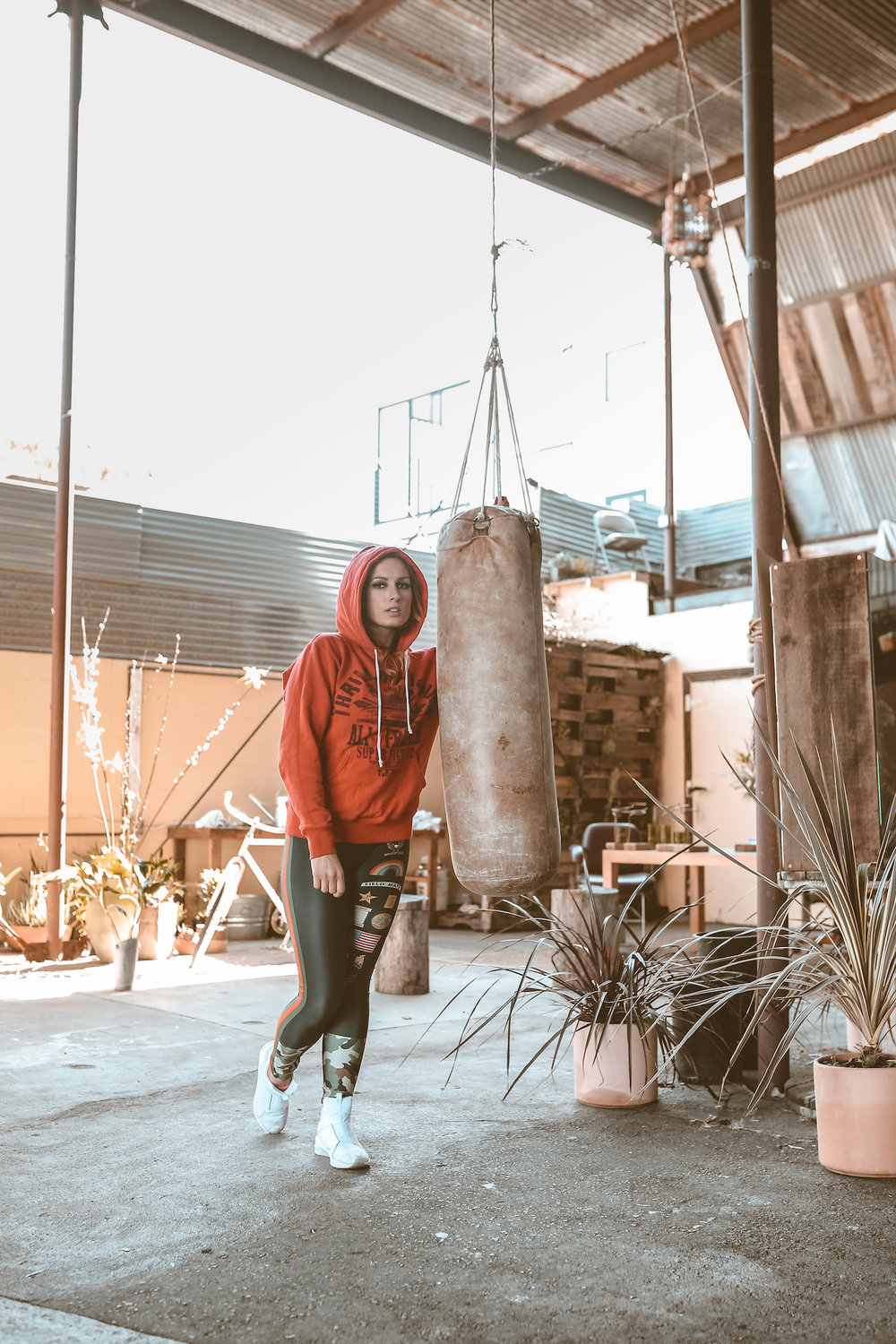 """WWE Superstar and """"The Man"""", Becky Lynch, in a makeshift boxing gym/dead flower shop. Venice, CA."""