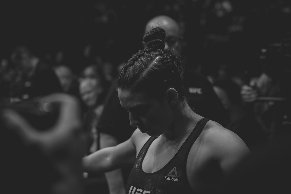 A quiet moment for Mackenzie Dern before she enters the cage. Las Vegas, NV.