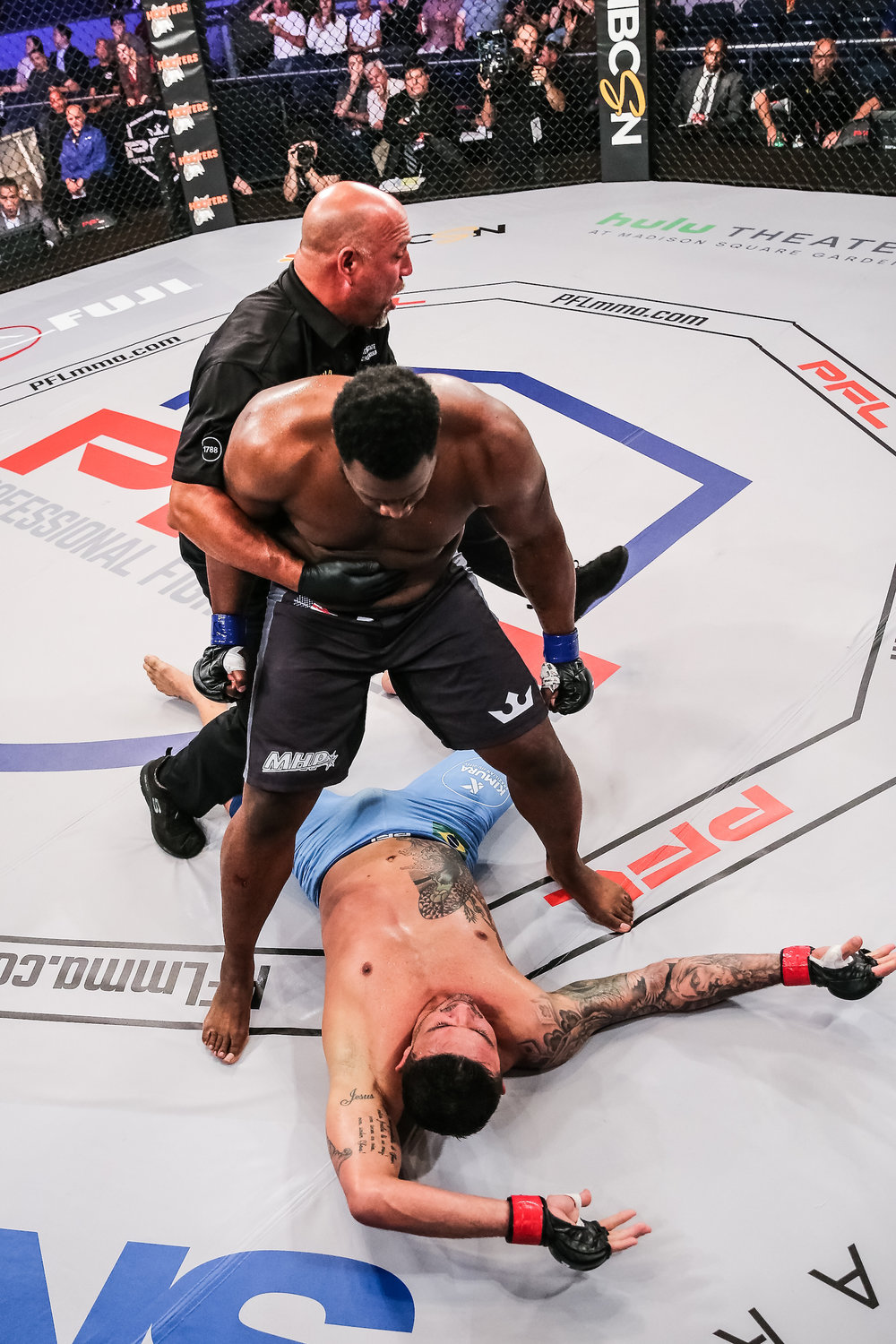 Kelvin Tiller stands victorious at PFL 1. New York, NY