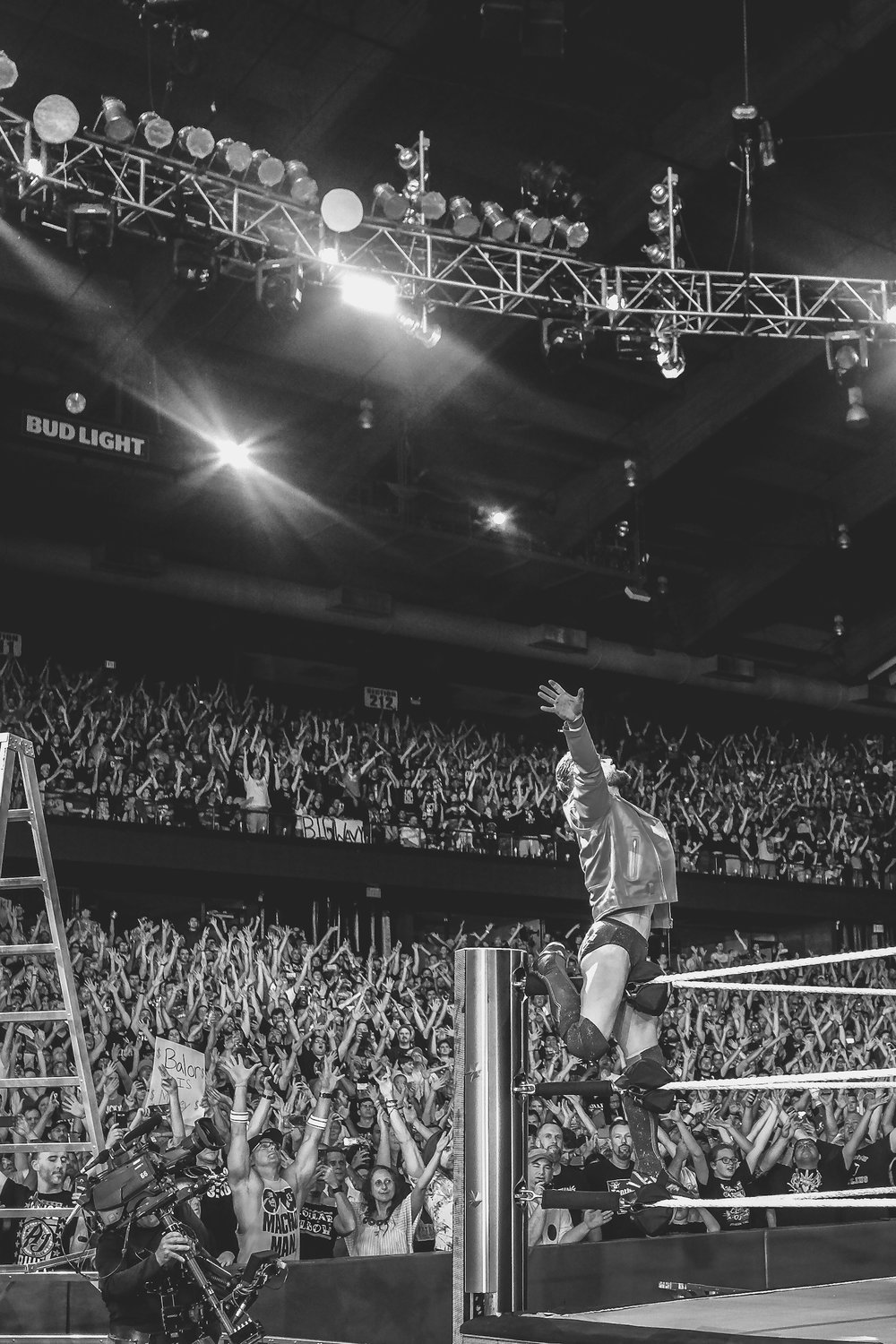 WWE Superstar Finn Balor makes his famous entrance in Chicago, IL.