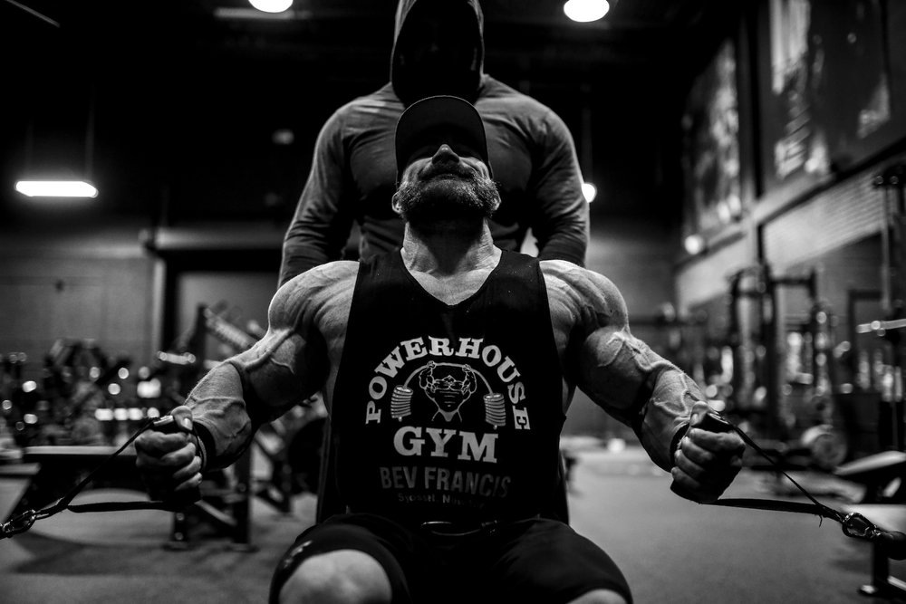 "Flex Lewis training to defend his Mr. Olympia title with training partner Frank McGrath in the ""Dragon's Lair"". Boca Raton, FL."