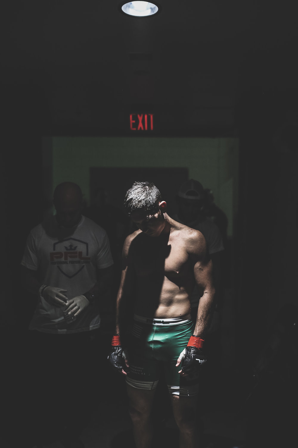 Steven Siler waits to make the walk to the cage for PFL in Long Island, NY.