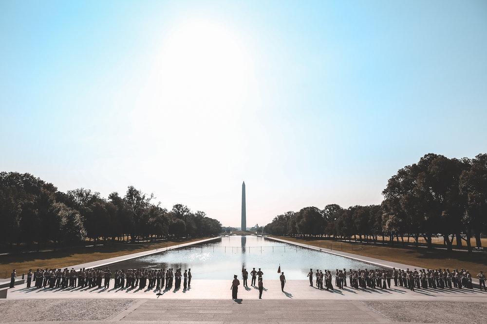 The Marines at sunrise in Washington, DC.