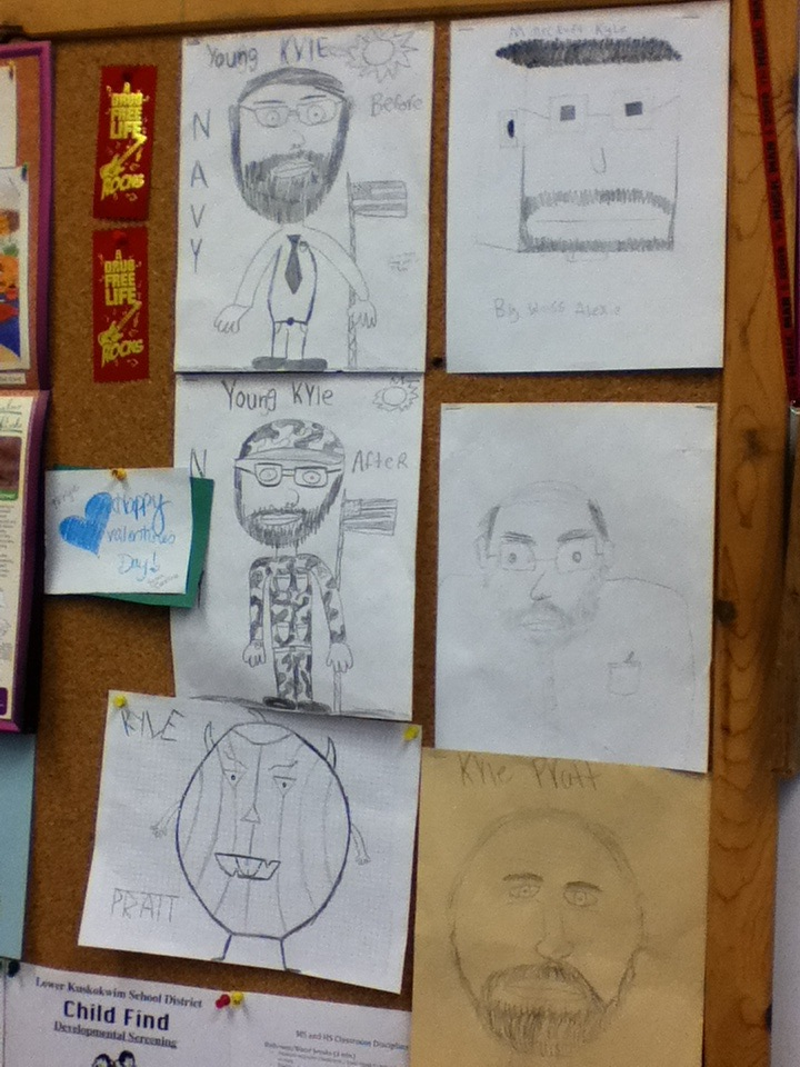 Students draw Kyle Pratt