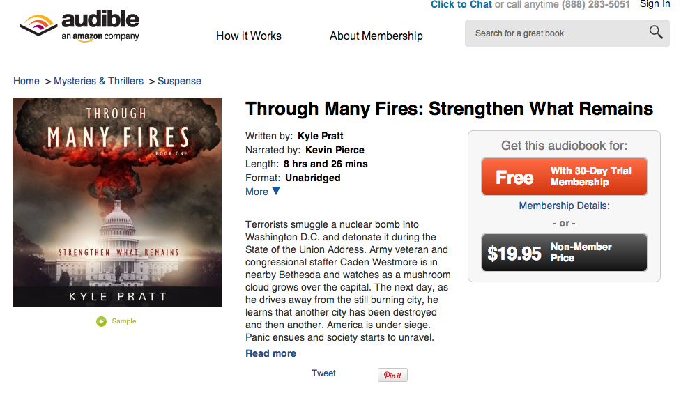 Screenshot of the page on Audible.com