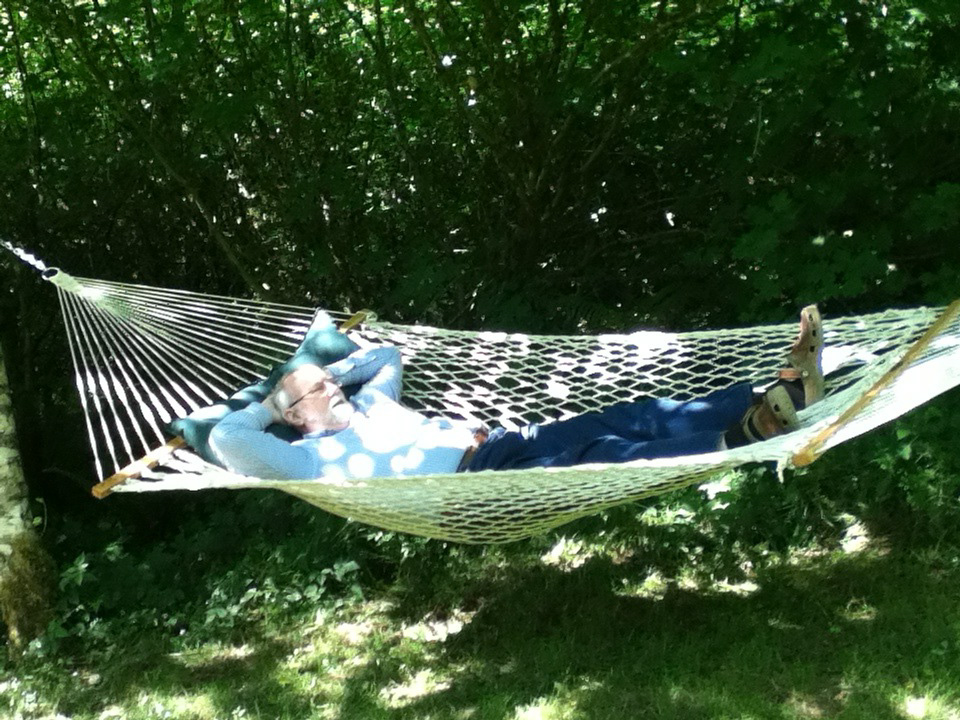 Kyle relaxing in his hammock