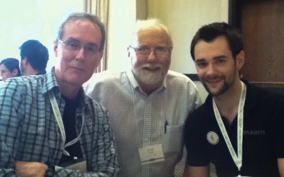 Randy Ingermanson, Kyle Pratt and Ben Wolf at the Oregon Christian Writers summer conference