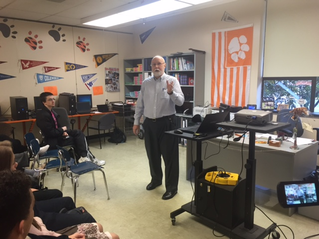 Author Kyle Pratt speaking at Centralia High School