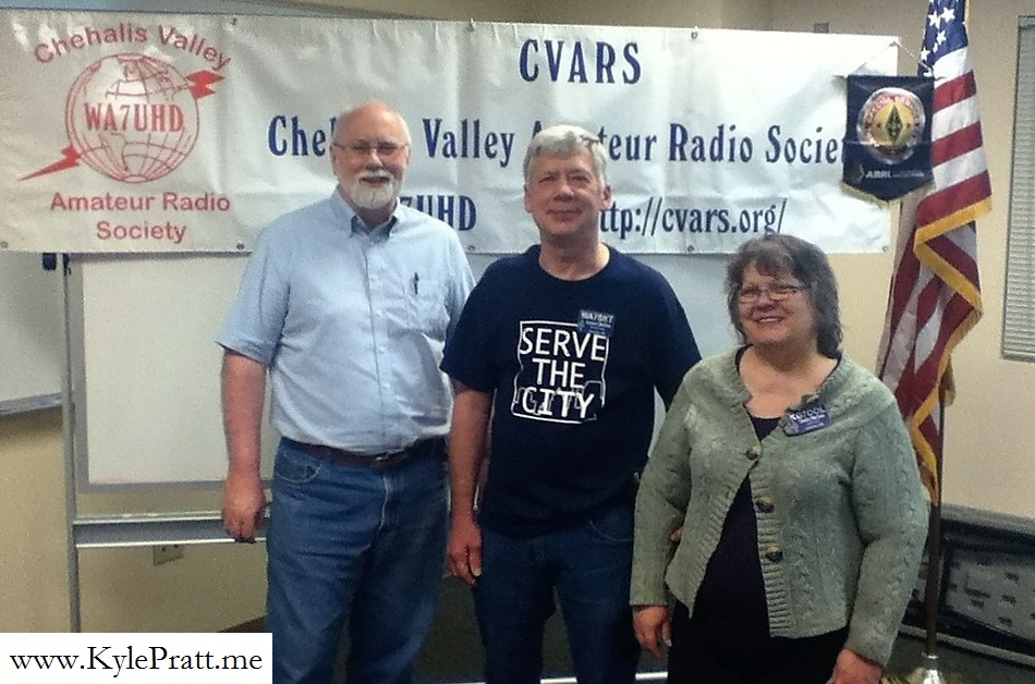 Kyle Pratt with ham radio mentors Lorin and Veda Moline