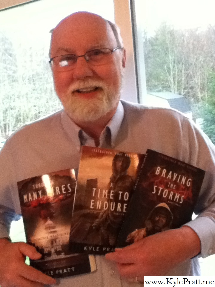 Kyle Pratt with the three books of the Strengthen What Remains series