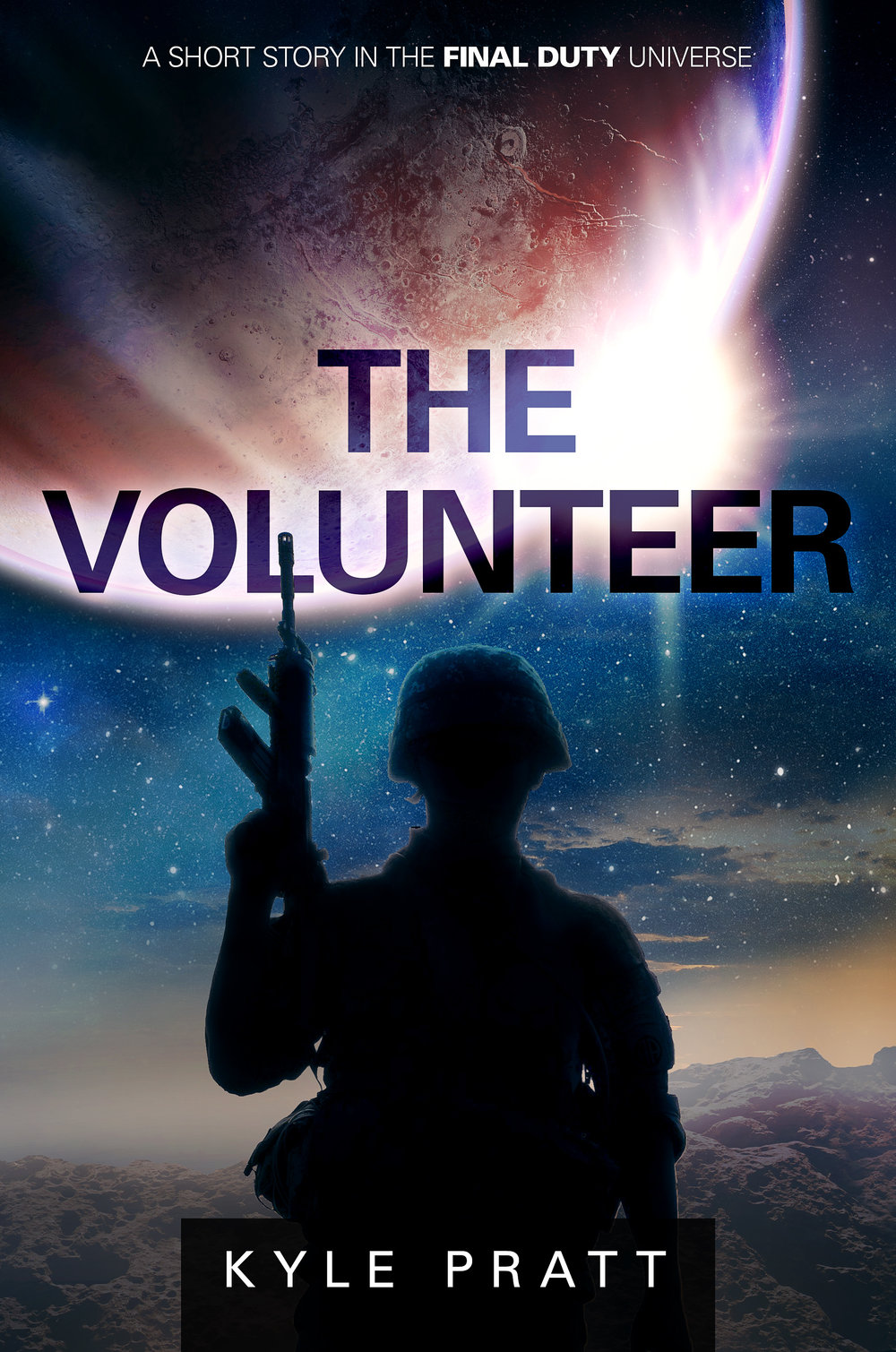 The Volunteer    Scheduled for release on June 2, 2017   After the hex attack Earth, Garvin Blake wants to impress his girlfriend and be something of a hero and so agrees to be cloned.  The Volunteer , my fourth story in the Final Duty universe, is a flash fiction piece of about 1,000-words.  The Volunteer  and  Infinite Darkness  are two stories that originate from a common idea. However,  Infinite Darkness  takes a sad, but hopeful turn while The Volunteer heads in a darker direction.  The Volunteer is available  free  to newsletter subscribers. Sign up on my  website contact page , or on NoiseTrade.com.