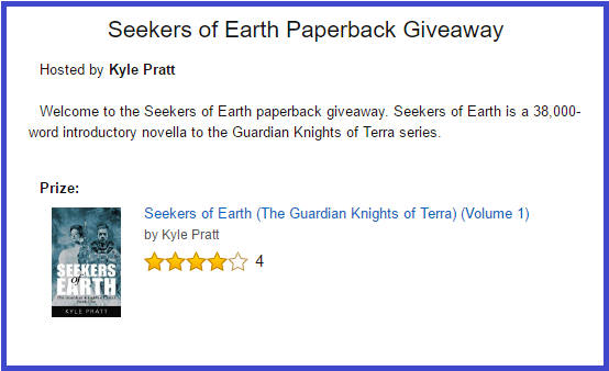 This is an Amazon.com contest for paperback copies of Seekers of Earth. To enter, click on the image.