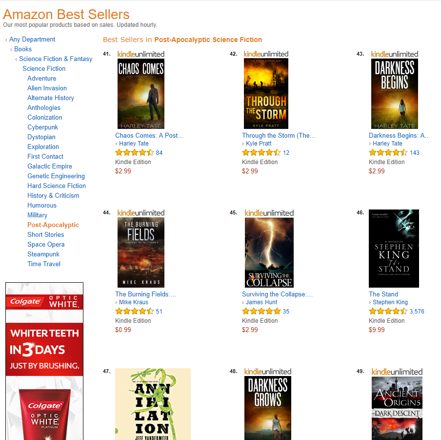 Through the Storm reaches the #42 spot on the Amazon post-apocalyptic bestseller list.