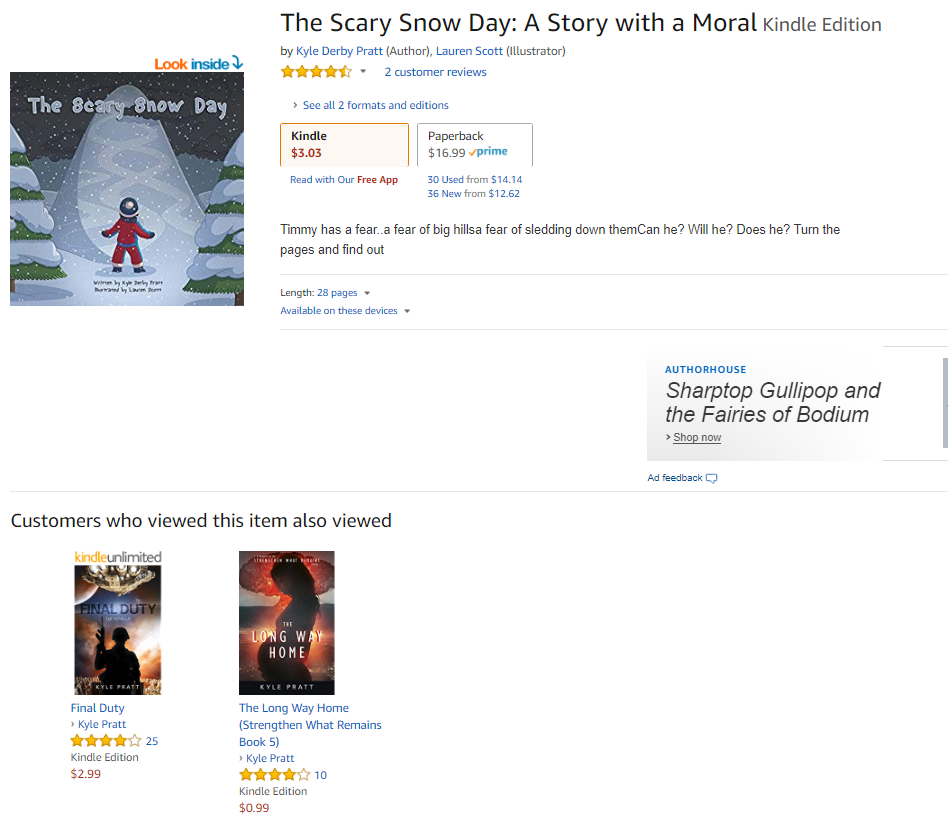 Apparently, the name issue is confusing others who look at Scary Snow Day and then my books.